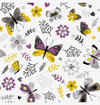 butterflies and sprigs pattern vector image vector image