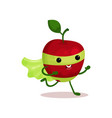 cartoon character of funny superhero apple with vector image vector image