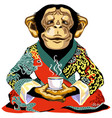 cartoon chimp in red kimono holding cup tea vector image vector image