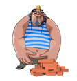 cartoon fat burly builder in a helmet with bricks vector image vector image