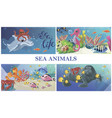 cartoon sea underwater life concept vector image vector image