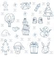 Christmas and winter with gift snowman in doodle vector image