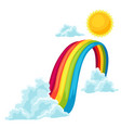 clouds sun and rainbow in sky vector image vector image