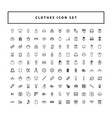 Collection clothes fashion icons set with outline