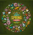 colorful hand drawn set spring cartoon vector image