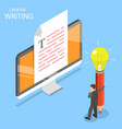 creative writing flat isometric concept vector image vector image
