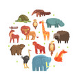 cute wild jungle animals round shape zoo park vector image vector image
