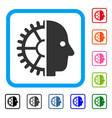 cyborg head framed icon vector image
