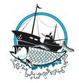fishing trawler and fish vector image vector image