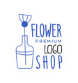 florist shop premium logo design hand drawn vector image vector image