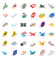 flying transport icons set isometric style vector image vector image