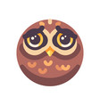 funny sad brown owl face flat icon vector image