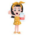 girl holding milk on white background vector image vector image