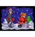 Halloween Pumpkin Jack and Santa Claus vector image vector image
