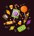 halloween sweets and candies vector image vector image