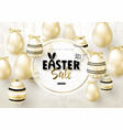 happy easter sale bannerbackground with realistic vector image vector image