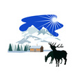 House Snow Mountains Deer Silhouette vector image vector image