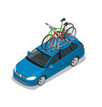 isometric wagon car with two bicycles mounted on vector image vector image