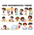 Kids solving math problems vector image vector image