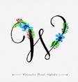 letter w watercolor floral background vector image vector image