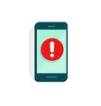mobile phone alarm or alert sign icon flat vector image