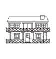 monochrome silhouette facade house of two floors vector image vector image