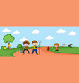 people in nature landscape vector image vector image