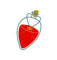 potion bottle glass transparent flask with red vector image