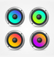realistic detailed 3d colorful audio speaker set vector image