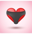 Red heart in black leather briefs vector image
