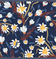 seamless pattern with small flowers on a dark vector image vector image