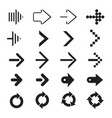 set of black arrows vector image vector image