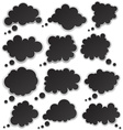 Set of paper black clouds vector image