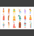 set of people in funny costumes colorful vector image vector image