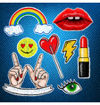 set of stickers embroidery on jeans background vector image