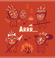 set of stone age tribe people in masks vector image vector image