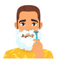 shaving man with beard vector image vector image