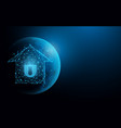 smarthome security from lines and particle vector image vector image