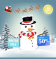 snowman with winter sale shopping paper bag vector image vector image