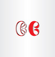 stylized b letter logo red b icon vector image vector image