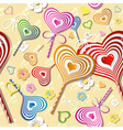 Sweet heart pattern old paper art vector image vector image