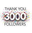 thank you 3000 followers poster with colorful vector image