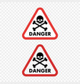 warning sign danger skull vector image