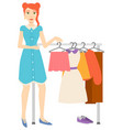 woman buying clothes shopping female character vector image vector image