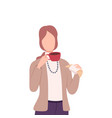 woman drinking coffee or tea female character vector image vector image