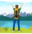 young male hiker enjoying mountain lake vector image vector image