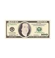 100 dollars banknote bill one hundred dollars vector image vector image