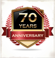 70 years anniversary golden label vector image vector image