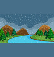a night raining scene vector image