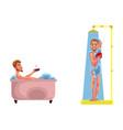 adult man washing in bathtub shower set vector image vector image